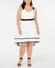 City Studios Trendy Plus Size High-Low Fit & Flare Dress