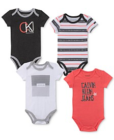 Calvin Klein Baby Boys 4-Pk. Striped & Printed Bodysuits