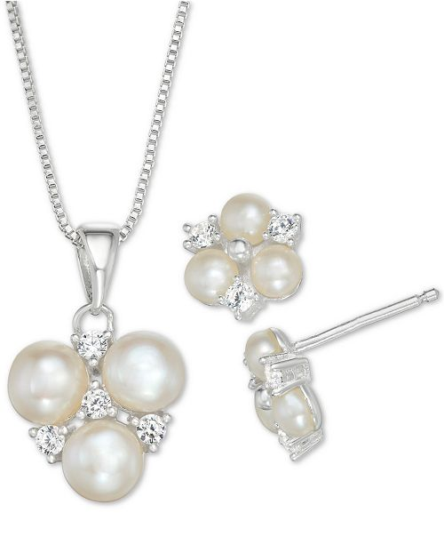 7cefd6aa09 ... Macy's Cultured Freshwater Pearl and Cubic Zirconia Pendant Necklace  and Stud Earrings Set in Sterling Silver ...