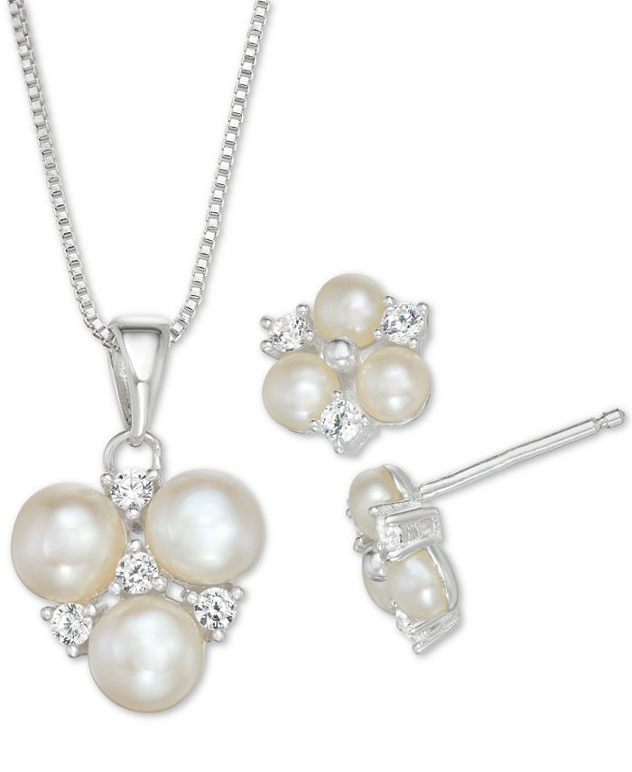 Macy's - Cultured Freshwater Pearl and Cubic Zirconia Pendant Necklace and Stud Earrings Set in Sterling Silver