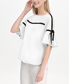 Calvin Klein Contrast-Trim Flutter-Sleeve Top