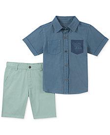 Calvin Klein Toddler Boys 2-Pc. Denim Pocket Shirt & Twill Shorts Set