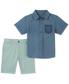 Calvin Klein Little Boys 2-Pc. Denim Pocket Shirt & Twill Shorts Set