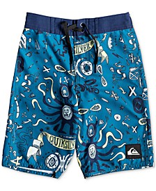 "Toddler Boys Mystery Bus Printed 14"" Board Shorts"