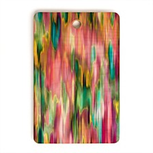 Iridiscent Lines Floral Pink Rectangle Cutting Board