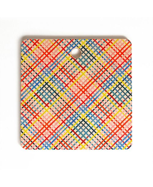 Deny Designs Multicolored Diagonal Gingham Square Cutting Board