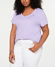 Tommy Hilfiger Plus Size Cotton V-Neck T-Shirt, Created for Macy's