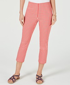 Charter Club Gingham-Print Capri Pants, Created for Macy's