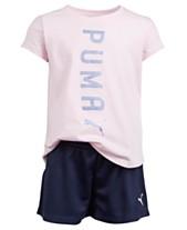 45c8ce6b340141 Puma Little Girls 2-Pc. Logo T-Shirt   Shorts Set