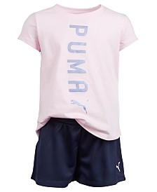 Puma Toddler Girls 2-Pc. Logo T-Shirt & Shorts Set