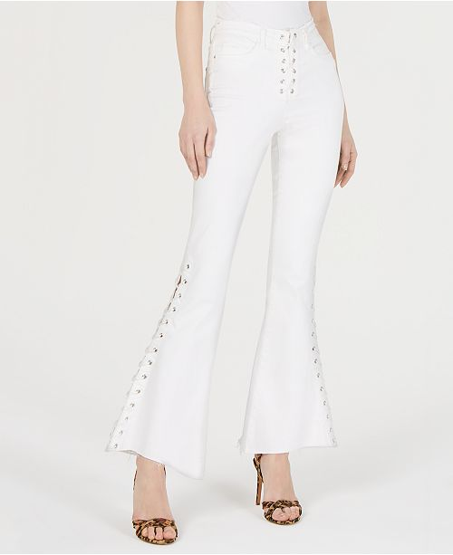 GUESS 1981 Cropped Lace Up Flare Pants