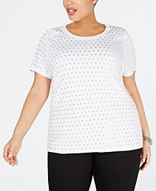 INC Plus Size Rhinestone T-Shirt, Created for Macy's