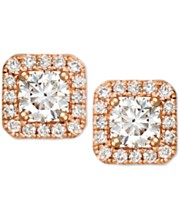 1e5fc15cd Diamond Halo Square Stud Earrings (3/4 ct. t.w.) in 14k Rose