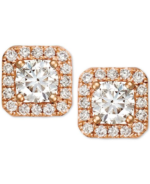 T W In Le Vian Diamond Halo Square Stud Earrings 3 4 Ct