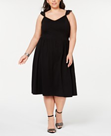 City Studios Trendy Plus Size Lace-Trimmed Fit & Flare Dress
