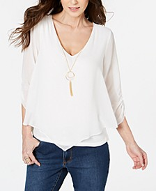 Layered Ruched-Sleeve Necklace Top, Created for Macy's
