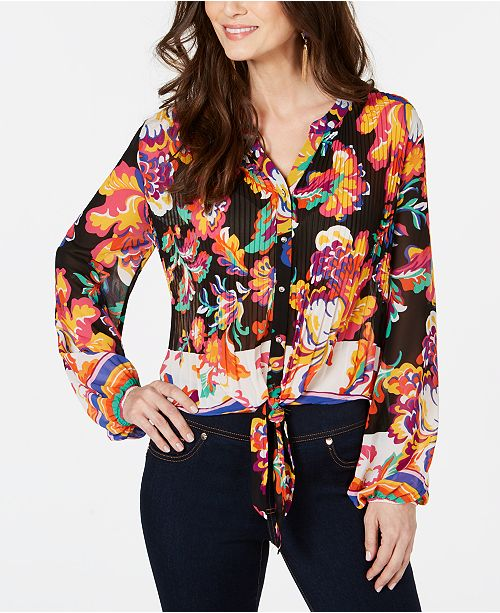 Thalia Sodi Floral Pleated Tie-Front Printed Blouse, Created for Macy's