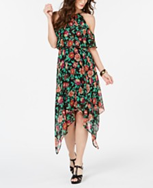 Thalia Sodi Printed Chain-Neck Off-The-Shoulder Maxi Dress, Created for Macy's