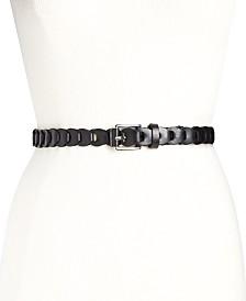 Michael Kors Braided Leather Skinny Belt