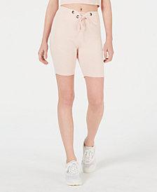 Material Girl Juniors' Grommet-Trimmed Tie-Front Biker Shorts, Created for Macy's