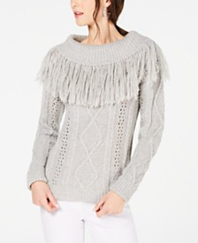 I.N.C. Fringe-Trim Cowlneck Sweater, Created for Macy's