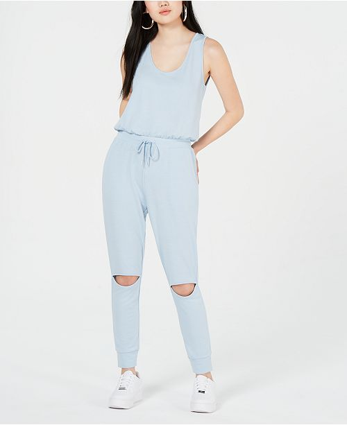 Material Girl Juniors' Knee-Cutout Knit Jumpsuit, Created for Macy's