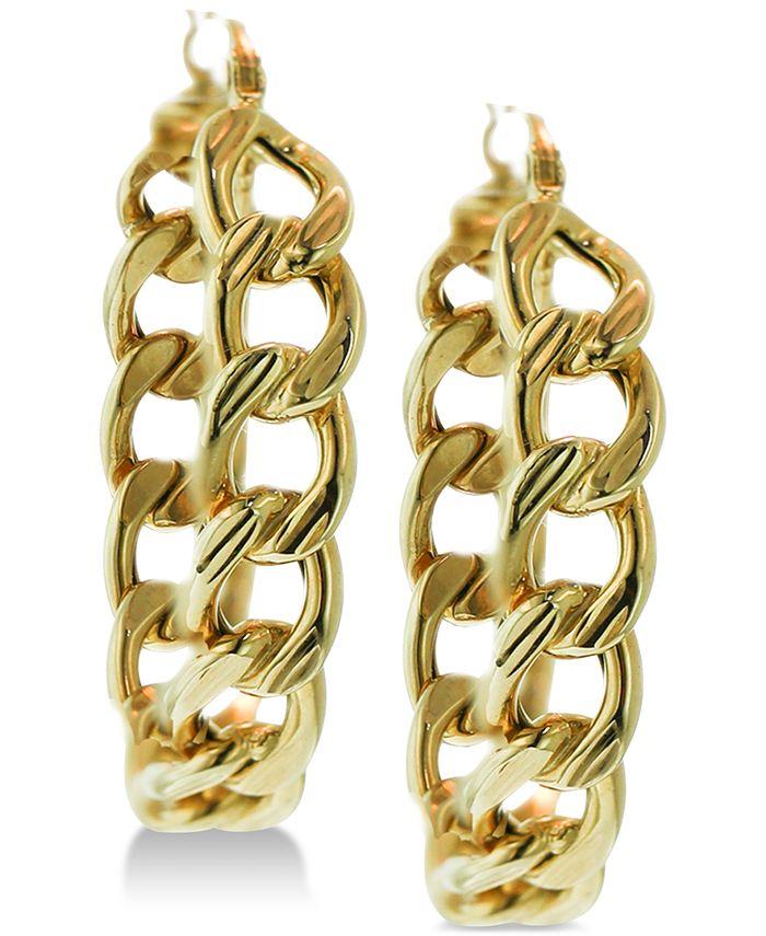 Macy's - Chain Link Hoop Earrings in 14k Gold