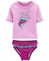 d69df1f34 Carter's Toddler Girls 2-Pc. Purr-Maid Rash Guard Swimsuit