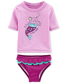 Carter's Toddler Girls 2-Pc. Purr-Maid Rash Guard Swimsuit
