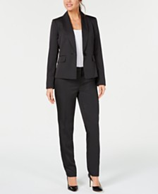 Le Suit Petite One-Button Mini Pinstriped Pantsuit