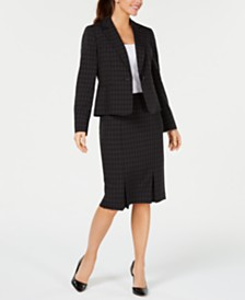 Le Suit Mini-Windowpane Skirt Suit
