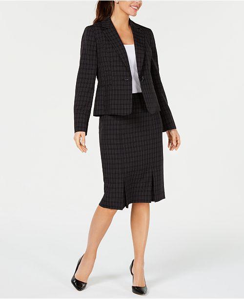 Le Suit Mini-Windowpane Skirt Suit