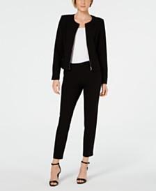 Calvin Klein Zip-Up Jacket & Cropped Skinny Pants