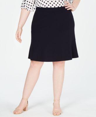 Plus Size Bi-Stretch Ruffled Skirt, Created for Macy's