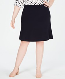 Bar III Plus Size Bi-Stretch Ruffled Skirt, Created for Macy's