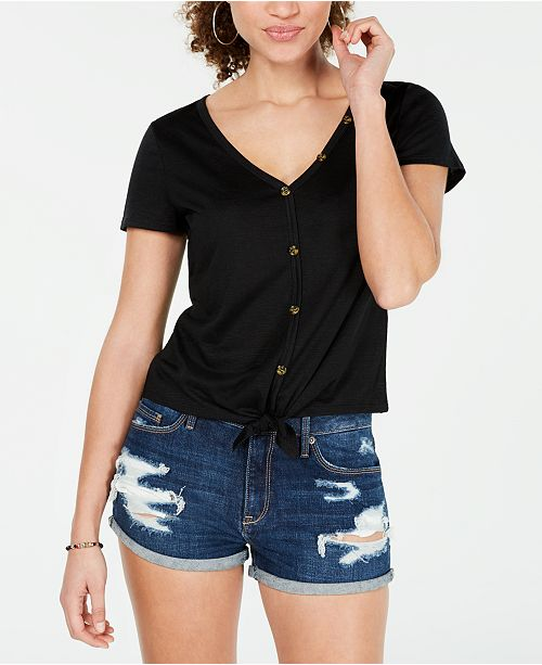 Almost Famous Crave Fame Juniors' Knot-Front Button-Trimmed Top