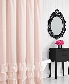 Betsey Johnson Solid Ruffled Shower Curtain
