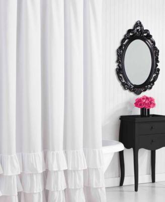 Betsey Johnson Solid Ruffled Shower Curtain
