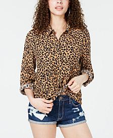 Hippie Rose Juniors' Leopard-Print Utility Shirt