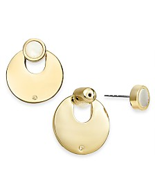 Alfani Gold-Tone & Stone Front-and-Back Earrings, Created for Macy's