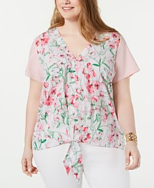 Tommy Hilfiger Plus Size Contrast Tie-Hem Top, Created for Macy's