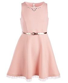 Pink & Violet Big Girls Textured Skater Dress