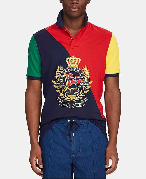 7028a636 ... Polo Ralph Lauren Men's Nautical Crest Classic-Fit Stretch Mesh Polo ...