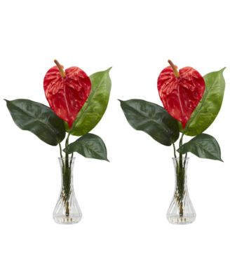 Nearly Natural Anthurium w/Bud Vase Silk Flower Arrangement, Set of 2