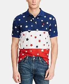 Men's Classic-Fit Americana Star Mesh Polo Shirt