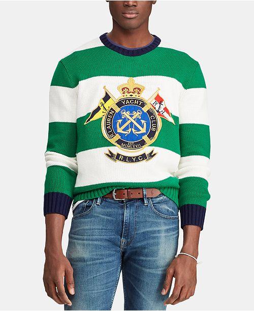 8e2091bb2e561 ... Polo Ralph Lauren Men s Embroidered Nautical Crest Striped Sweater ...
