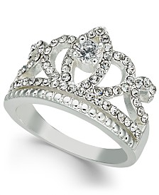 Charter Club Silver-Tone Crystal Crown Ring, Created for Macy's