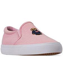 Polo Ralph Lauren Little Girls' Carlee Bear Slip-On Casual Sneakers from Finish Line