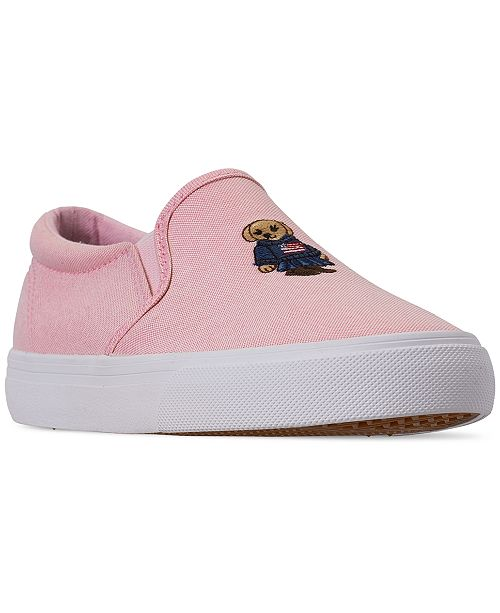 Polo Ralph Lauren Little Girls' Carlee Bear Slip-On Casual Sneakers from Finish Line