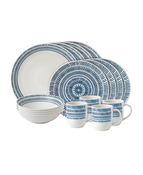 ED Ellen Degeneres Crafted by Royal Doulton Chevron 16-Piece Dinnerware Set